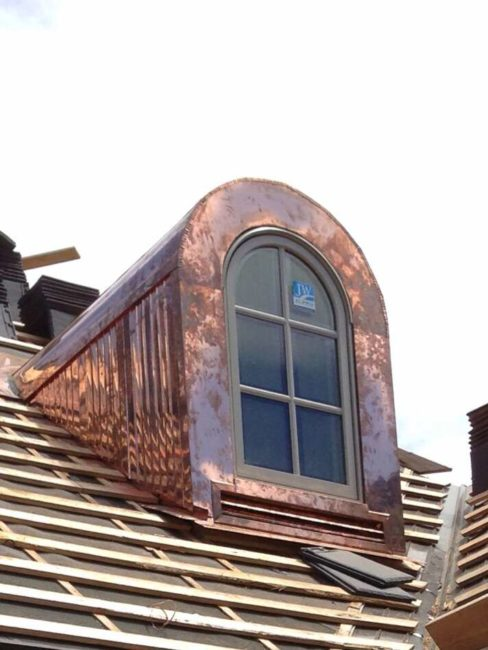 Custom Built Copper Dormer atop Home by Jess Alway Construction
